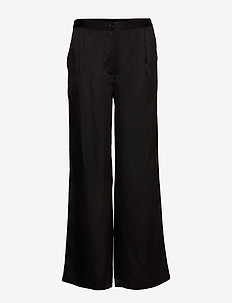 Double Silk - Sasha Flex Pleated - leveälahkeiset housut - black