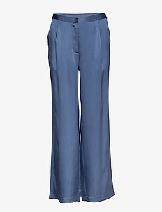 Double Silk - Sasha Flex Pleated - bukser med brede ben - medium blue
