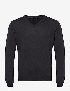 Merino Embroidery - Iv - v-hals - charcoal