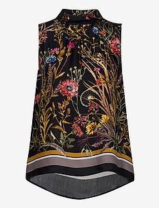 3417 - Prosa Top - sleeveless blouses - black