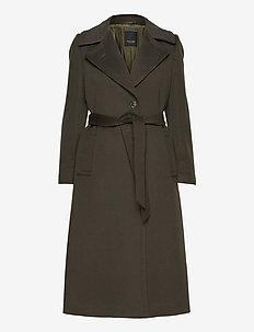 Cashmere Coat W - Clareta Belt - ullkåper - army