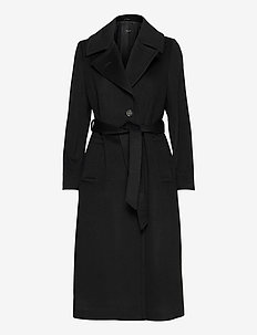 Cashmere Coat W - Clareta Belt - ullkåper - black