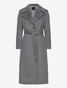 Cashmere Coat W - Clareta Belt - ullkåper - grey