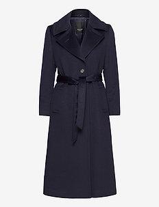 Cashmere Coat W - Clareta Belt - uldfrakker - navy