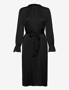 Satin Stretch - Raya FS Dress - midi dresses - black