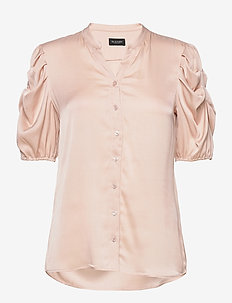 Satin Stretch - Naolin - short-sleeved blouses - nude