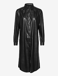 Vegan Leather - Asia Dress B - shirt dresses - black