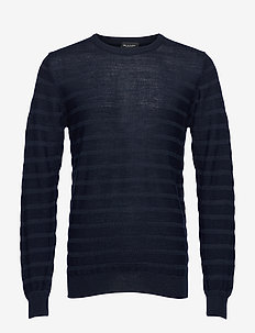 Merino Stripe - Iq - stickade basplagg - dark blue/navy