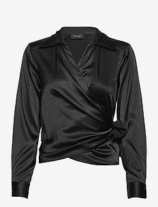 3176 - Wrap - long sleeved blouses - black