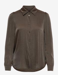 3176 Matt - Latia Puff - long sleeved blouses - dark khaki