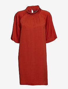 Crepe Viscose - Prosa Sleeve Dress - PAPRIKA