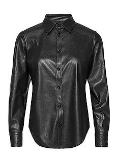 Vegan Leather - Sandie New - overhemden met lange mouwen - black