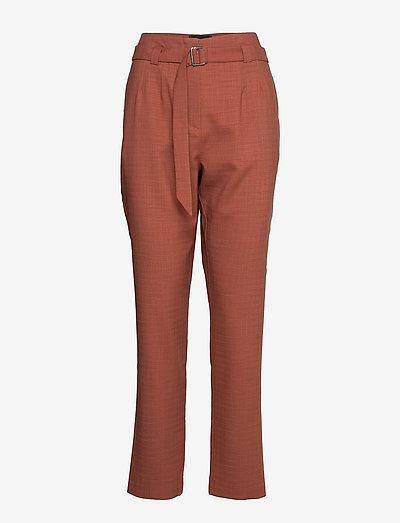 6253 - Aileen High - bukser med lige ben - dark camel