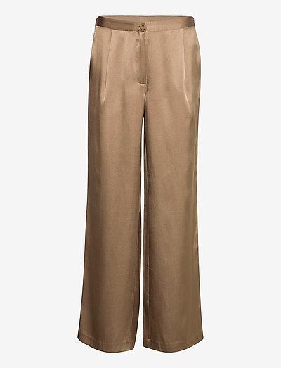 Double Silk - Sasha Flex Pleated - bukser med brede ben - light camel