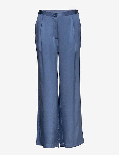 Double Silk - Sasha Flex Pleated - bukser med brede ben - medium blue