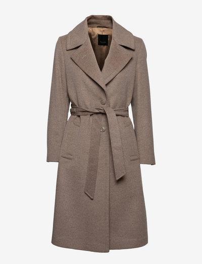 Cashmere Coat W - Clareta Belt Midi - wool coats - light camel