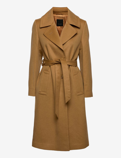 Cashmere Coat W - Clareta Belt Midi - uldfrakker - light camel