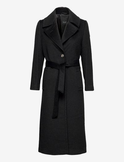 Cashmere Coat W - Clareta Belt - wool coats - black