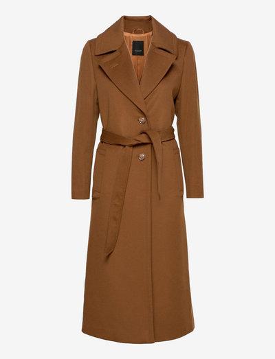 Cashmere Coat W - Clareta Belt - vinterfrakker - brown