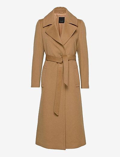 Cashmere Coat W - Clareta Belt - wool coats - light camel