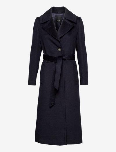 Cashmere Coat W - Clareta Belt - wool coats - medium blue