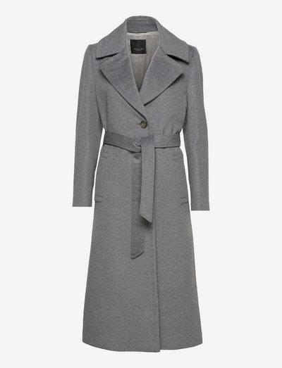 Cashmere Coat W - Clareta Belt - wool coats - medium grey