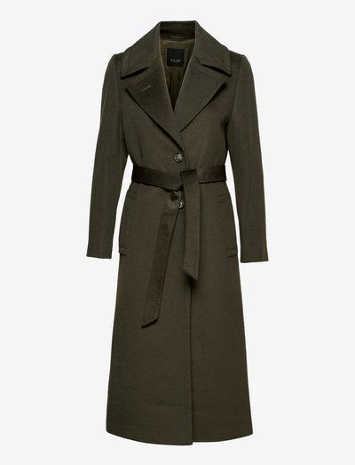 Cashmere Coat W - Clareta Belt - vinterfrakker - olive/khaki