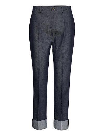 3395 - Dori A Turnup - bukser med lige ben - medium blue
