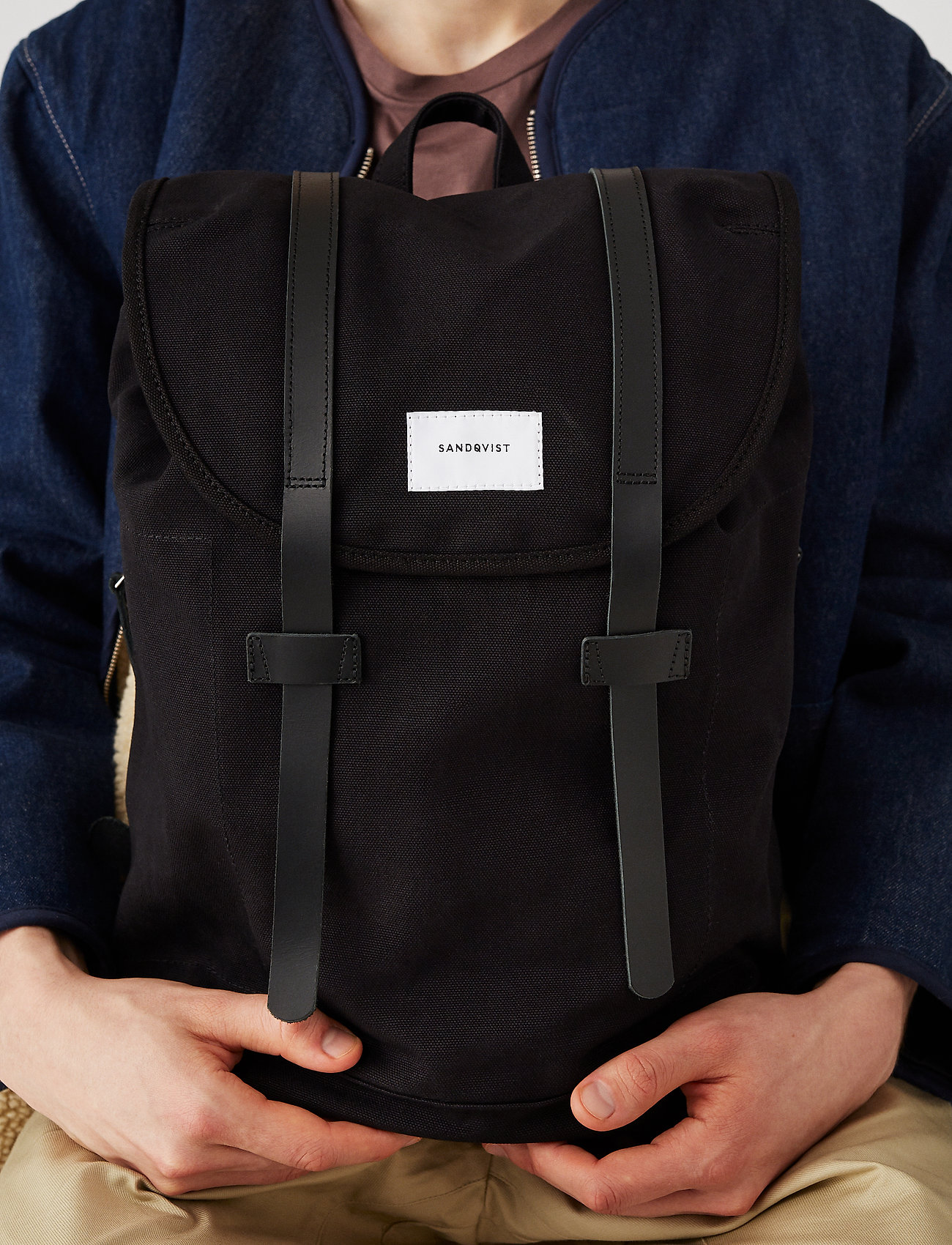 SANDQVIST - STIG LARGE - backpacks - black with black leather