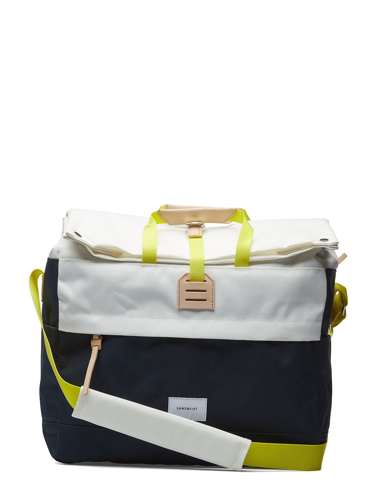 SANDQVIST TOR - MULTI OFF WHITE / BLUE WITH NATURAL LEATHER