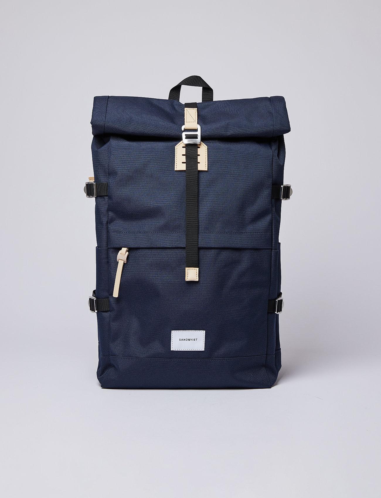 SANDQVIST - BERNT - ryggsäckar - navy with natural leather - 0