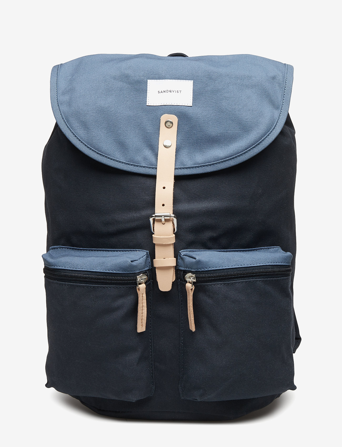 SANDQVIST - ROALD - backpacks - multi blue / dusty blue with natural leather
