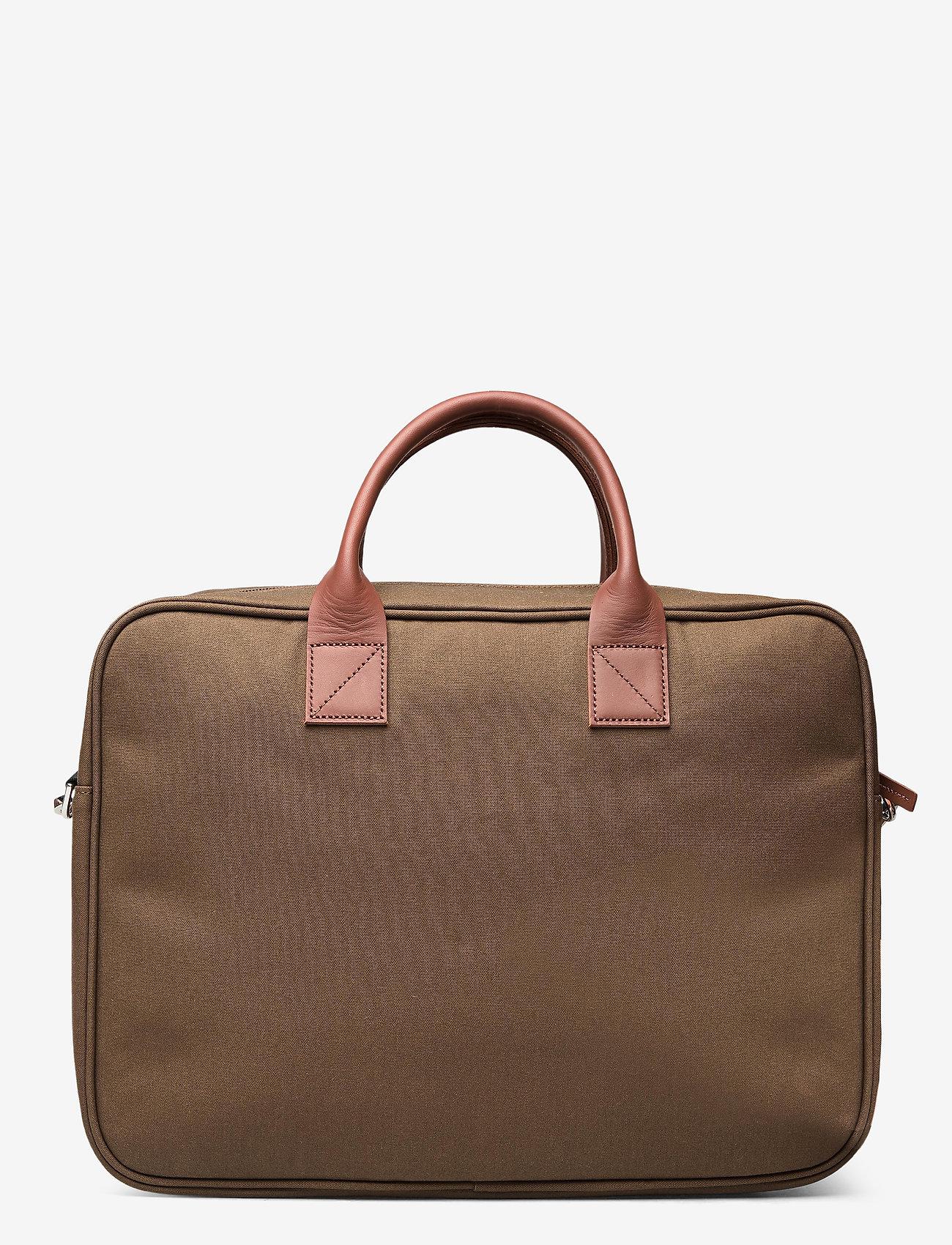SANDQVIST - EMIL - tassen - olive with cognac brown leather - 1