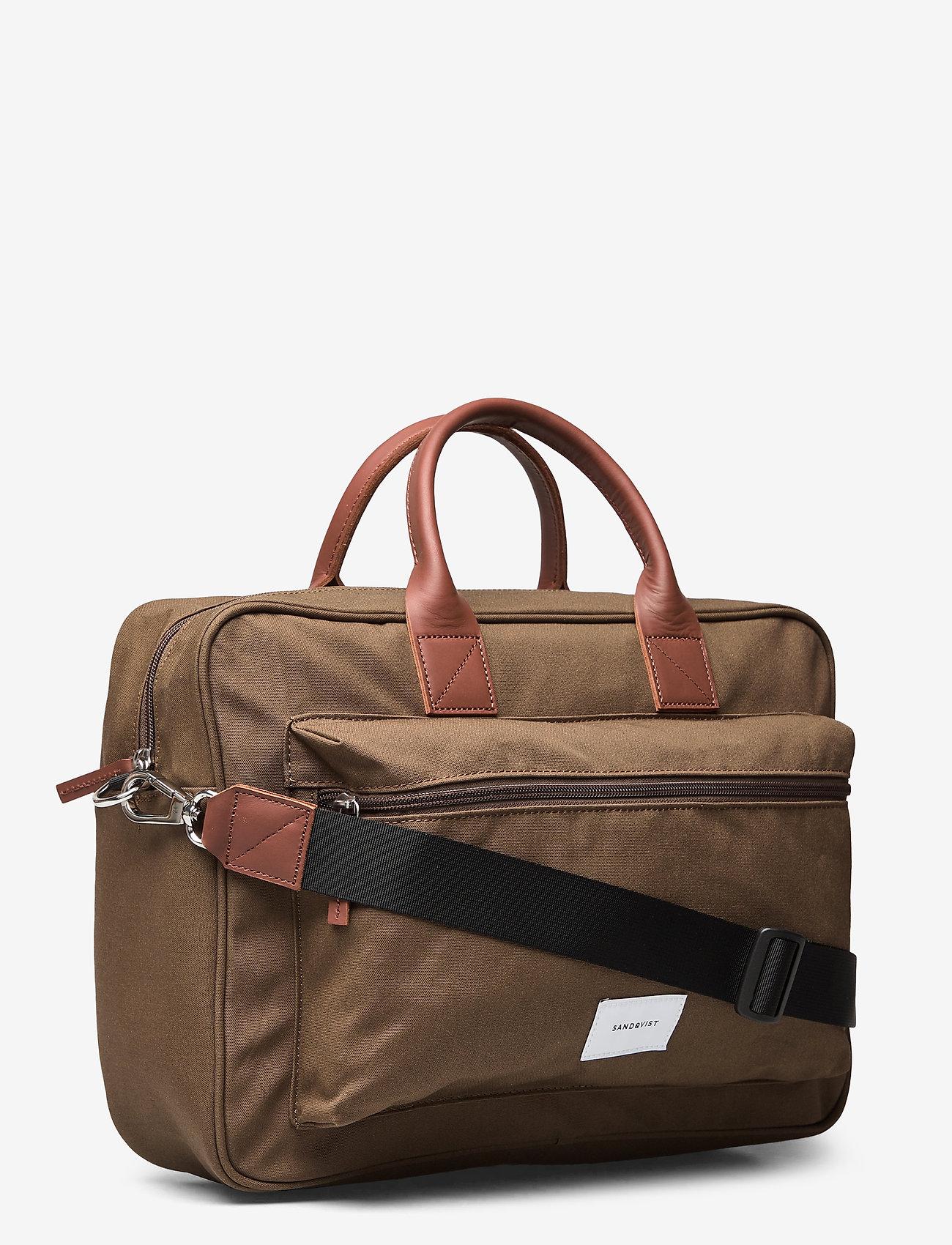 SANDQVIST - EMIL - tassen - olive with cognac brown leather - 2