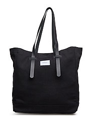 STIG TOTE BAG - BLACK WITH BLACK LEATHER