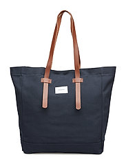 STIG TOTE BAG - BLUE WITH COGNAC BROWN LEATHER