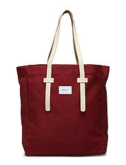 STIG TOTE BAG - BURGUNDY WITH NATURAL LEATHER