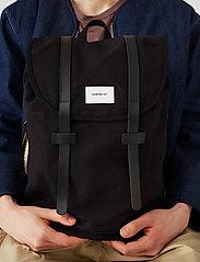 SANDQVIST - STIG LARGE - backpacks - black with black leather - 0