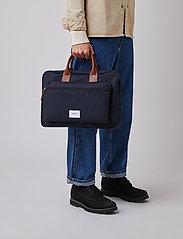 SANDQVIST - EMIL - laptoptassen - navy with cognac brown leather - 0