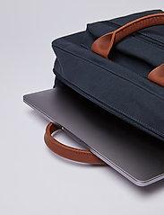 SANDQVIST - EMIL - laptoptassen - navy with cognac brown leather - 7