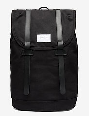 SANDQVIST - STIG LARGE - backpacks - black with black leather - 1