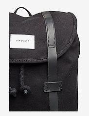 SANDQVIST - STIG LARGE - backpacks - black with black leather - 5