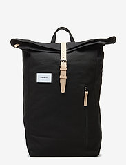 SANDQVIST - DANTE - backpacks - black with natural leather - 0