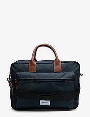 SANDQVIST - EMIL - laptoptassen - navy with cognac brown leather - 1