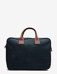 SANDQVIST - EMIL - laptoptassen - navy with cognac brown leather - 2