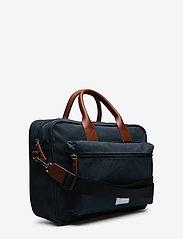 SANDQVIST - EMIL - laptoptassen - navy with cognac brown leather - 3