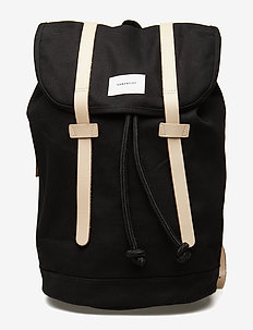 STIG LARGE - sacs a dos - black w/ natural leather