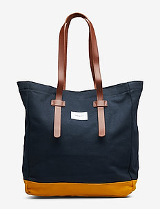 STIG TOTE BAG - MULTI BLUE/ YELLOW WITH COGNAC BROWN LEATHER