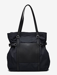 THEA - casual shoppers - black with black leather