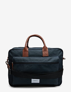 EMIL - computertasker - navy with cognac brown leather